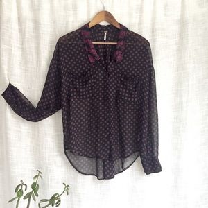Free People Georgette Easy Rider Button Top